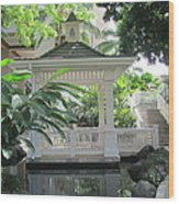 Gazebo Of The Tropics Wood Print