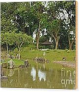 Gazebo Trees Lake And Rock Garden In Singapore Chinese Gardens Wood Print