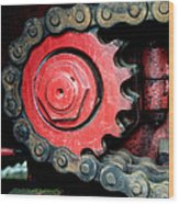 Gear Wheel And Chain Of Old Locomotive Wood Print