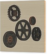 Gears And Pulleys Wood Print