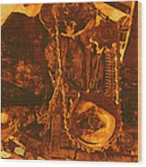 Gears In Yellow Wood Print