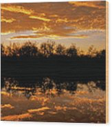 Geese Fly In The Sunset Wood Print