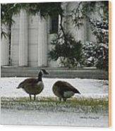 Geese In Snow Wood Print