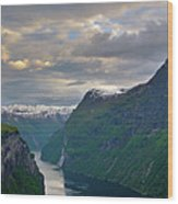 Geirangerfjord Sunset Wood Print