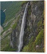 Geirangerfjord Waterfall Wood Print
