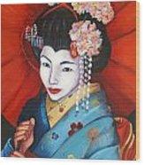 Geisha Girl Wood Print
