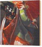 Geisha Girl With Red Umbrella Wood Print