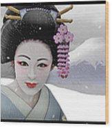 Geisha In Snow On Mt. Fuji Wood Print