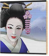 Geisha On Mount Fuji Wood Print