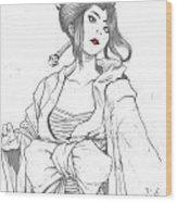 Geisha Warrior Wood Print by Rebecca Christine Cardenas