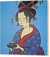 Geisha With Cup Wood Print