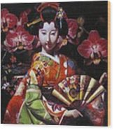 Geisha With Orchids Wood Print