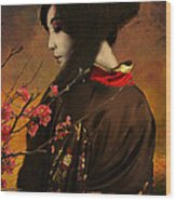 Geisha With Quince - Revised Wood Print