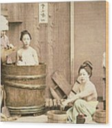 Geishas Bathing Wood Print