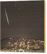 Geminid Meteor Shower Aspen Wood Print by Tom Cuccio
