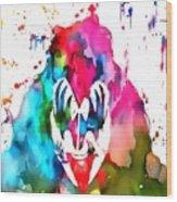 Gene Simmons Paint Splatter Wood Print