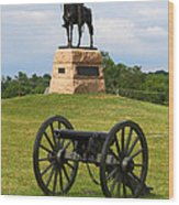 General Meade Monument And Cannon Wood Print by James Brunker