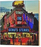 Geno's Steaks Wood Print by Benjamin Yeager