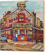 Geno's Steaks Philadelphia Cheesesteak Restaurant South Philly Italian Market Scenes Carole Spandau Wood Print