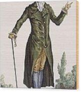 Gentleman In Green Coat, Plate Wood Print