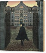 Gentleman In Top Hat And Cape Walking Through Gates Wood Print