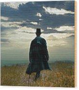 Gentleman In Top Hat Walking In Field Wood Print