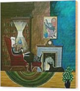 Gentleman Sitting In Wingback Chair Enjoying A Brandy Wood Print