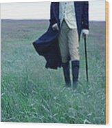 Gentleman Walking In The Country Wood Print