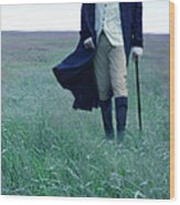 Gentleman Walking In The Country Wood Print by Jill Battaglia