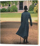 Gentleman Walking Towards A House Wood Print