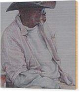 Gentleman Wearing The Dark Hat Wood Print by Sharon Sorrels