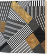 Geo Stripes In Gold And Black II Wood Print