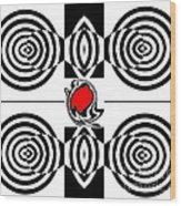 Geometric Art Black White Red Abstract No.382. Wood Print by Drinka Mercep