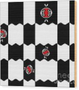 Geometric Minimalistic Art Black White Red Abstract Print No.228. Wood Print