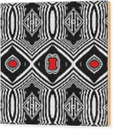 Pattern Black White Red Op Art No.389. Wood Print by Drinka Mercep