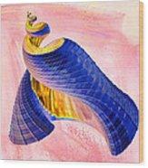 Geometric Shell Art Wood Print by Deborah Benoit