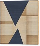 Geometry Indigo Number 2 Wood Print by Carol Leigh