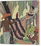 George Barbier. Spanish Lady In Hammoc With Parrot.  Wood Print
