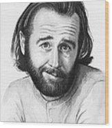 George Carlin Portrait Wood Print