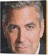George Clooney Portrait Wood Print