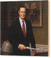 George Hw Bush Presidential Portrait Wood Print