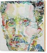 George Orwell Watercolor Portrait Wood Print