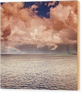 George Town-grand Cayman Rainbow After The Storm Wood Print
