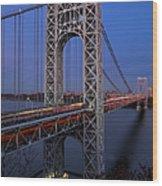 George Washington Bridge At Twilight Wood Print