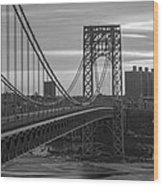 George Washington Bridge Frame Work Bw Wood Print
