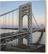 George Washington Bridge Sunset Wood Print by Susan Candelario