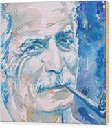 Georges Brassens - Watercolor Portrait Wood Print