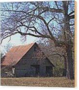 Georgia Barn In Winter Wood Print