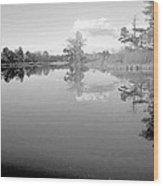 Georgia Lake In Black And White Wood Print