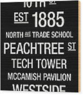 Georgia Tech College Town Wall Art Wood Print by Replay Photos